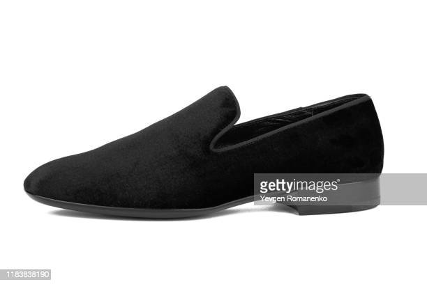 black velvet loafer shoe on white background - loafers stock pictures, royalty-free photos & images