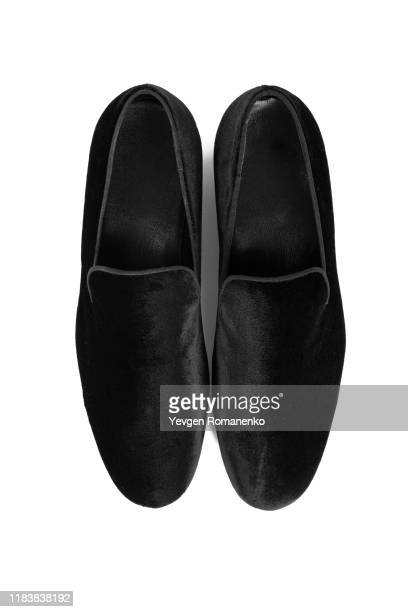 black velvet mens formal shoes on white background - loafers stock pictures, royalty-free photos & images
