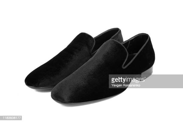 black velvet shoes. mens formal shoes on white background - loafers stock pictures, royalty-free photos & images