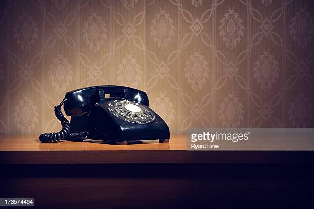 Black Vintage Rotary Telephone with Copy Space
