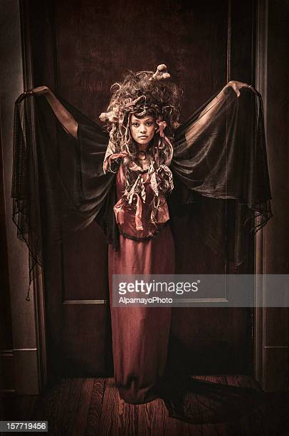 black voodoo queen portrait - i - elizabethan style stock photos and pictures