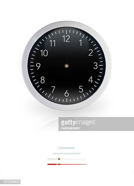 Black Wall Clock w/Clipping Path