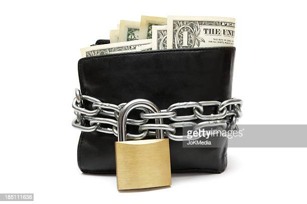 Black wallet with a lock and chain around it