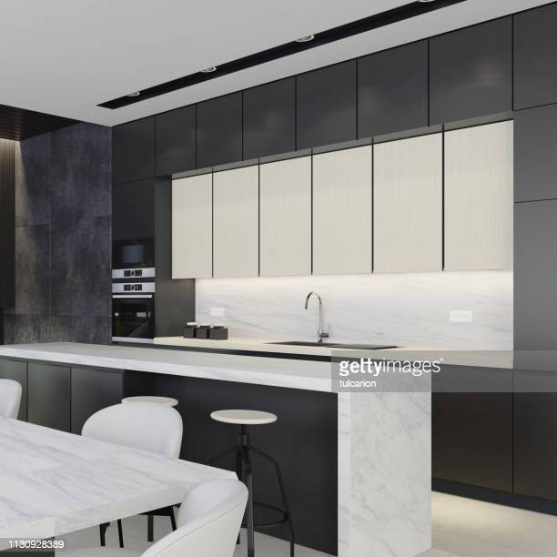black, white and dark gray modern kitchen - domestic kitchen stock pictures, royalty-free photos & images