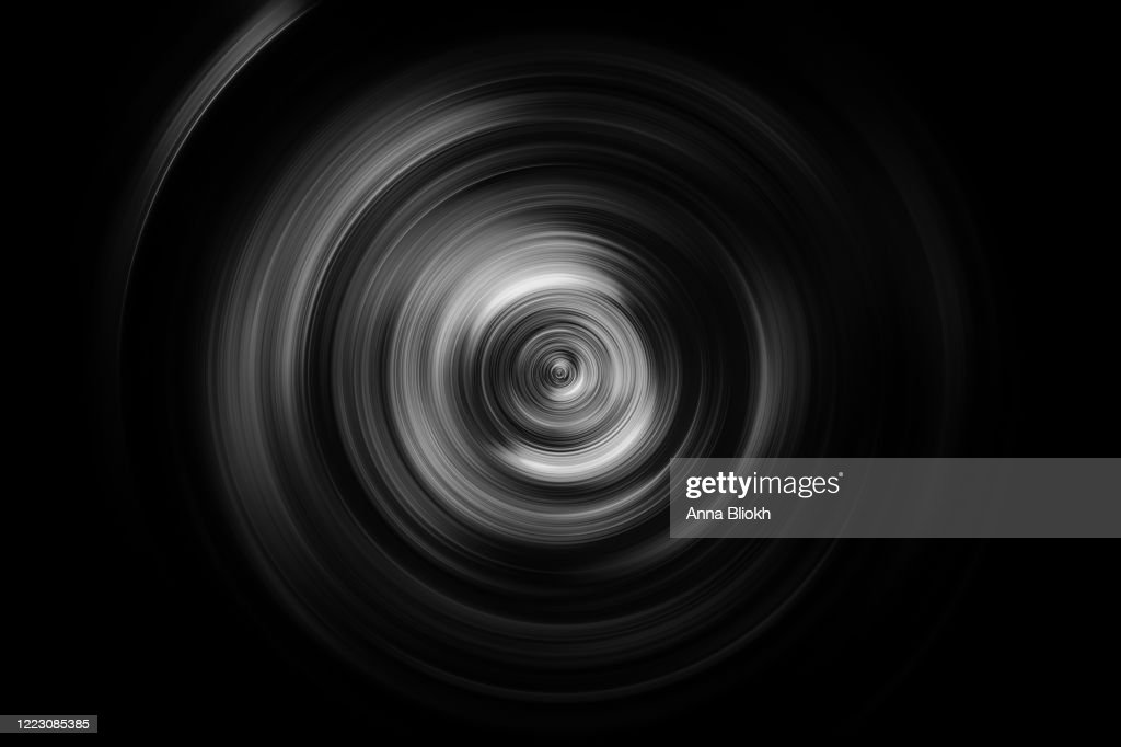 Black White Circle Swirl Ring Pattern Vertigo Concentric Cyclone Abstract Lens Camera Body Movie Disk Curve Centrifuge Monochrome Background Blurred Motion Speed Curled up Textured Effect : Stock Photo