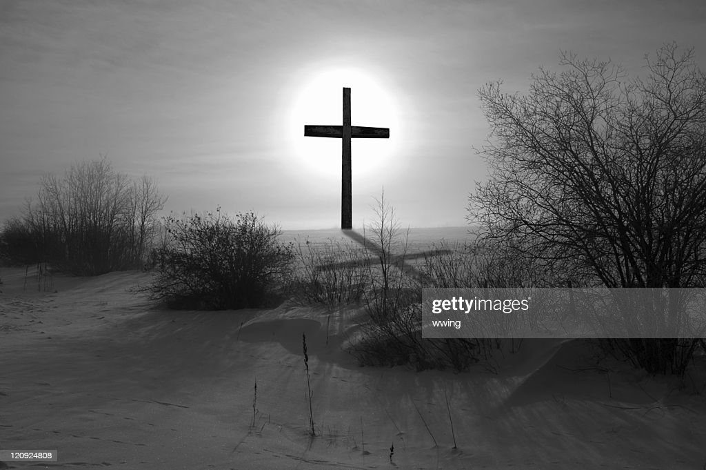 Black & White Cross and Shadow : Stock Photo