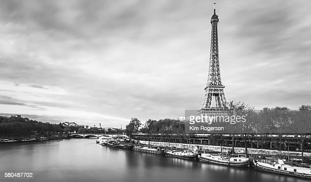 Black & White Eiffel Tower on the Seine River Bank