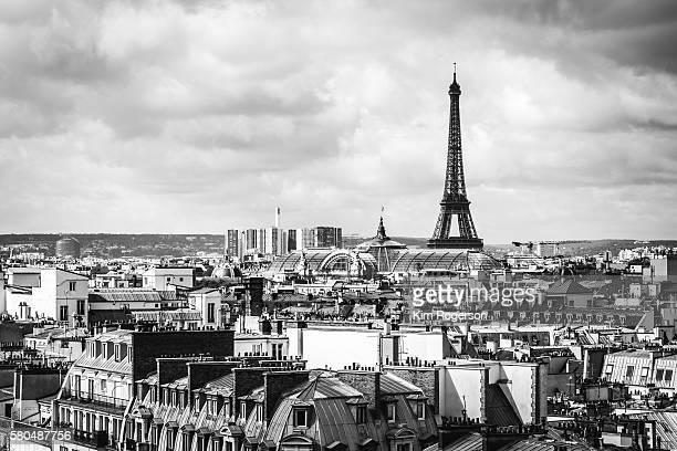 Black & White Eiffel Tower over Paris, France