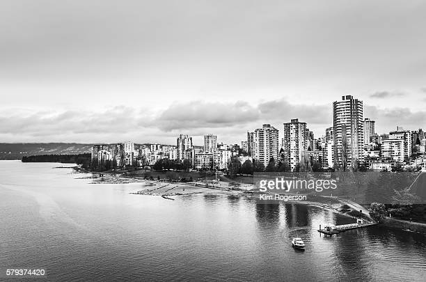 black & white ferry of sunset beach, vancouver, canada - english bay stock photos and pictures