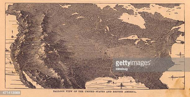 Black & White Illustration, Balloon View of North America, 1867