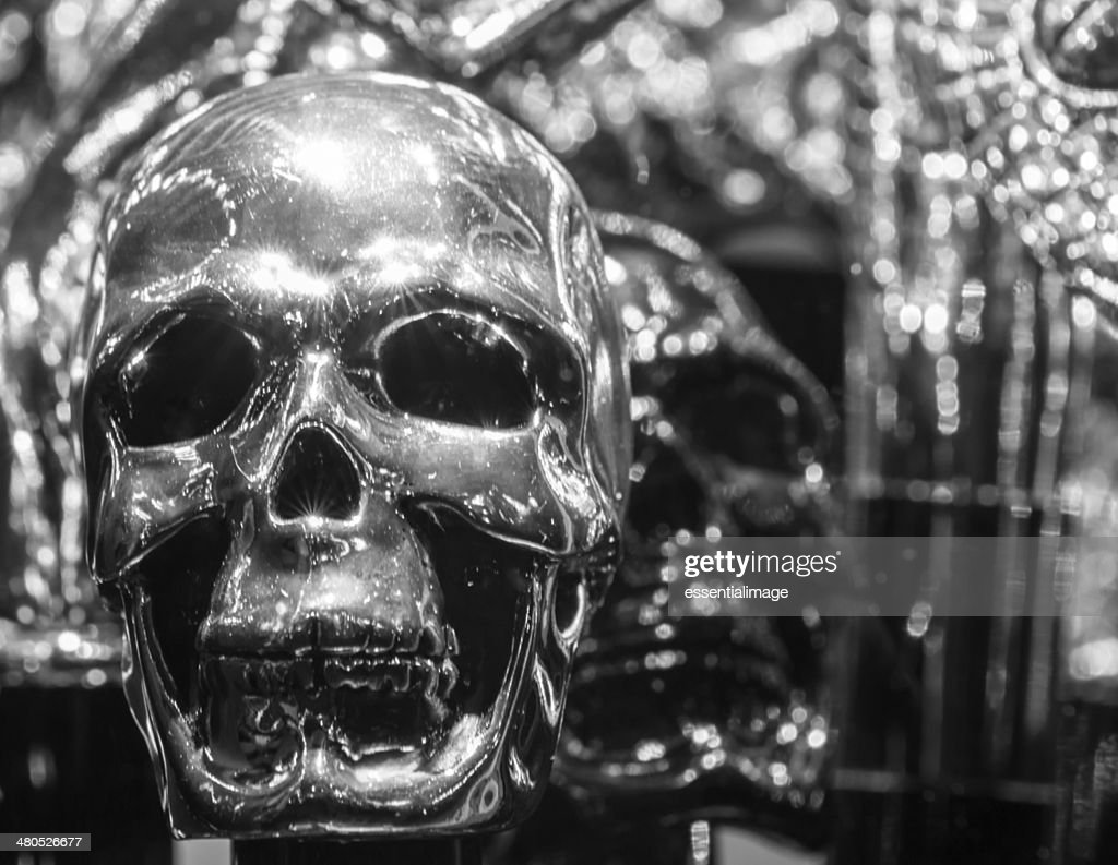 Black & White Silver Skull : Stock Photo