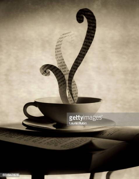 Black & White tea cup with poetry/words steaming