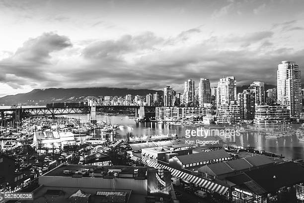 Black & White Twilight over False Creek, Vancouver, Canada