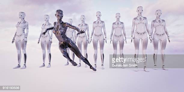 Black woman android running near white androids