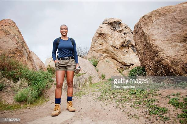 Black woman hiking in remote area