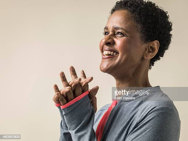 black woman in exercise top - ecstatic stock pictures, royalty-free photos & images