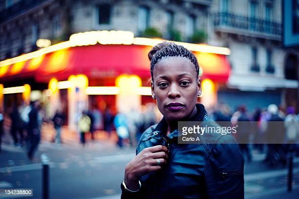 Black woman looking at camera