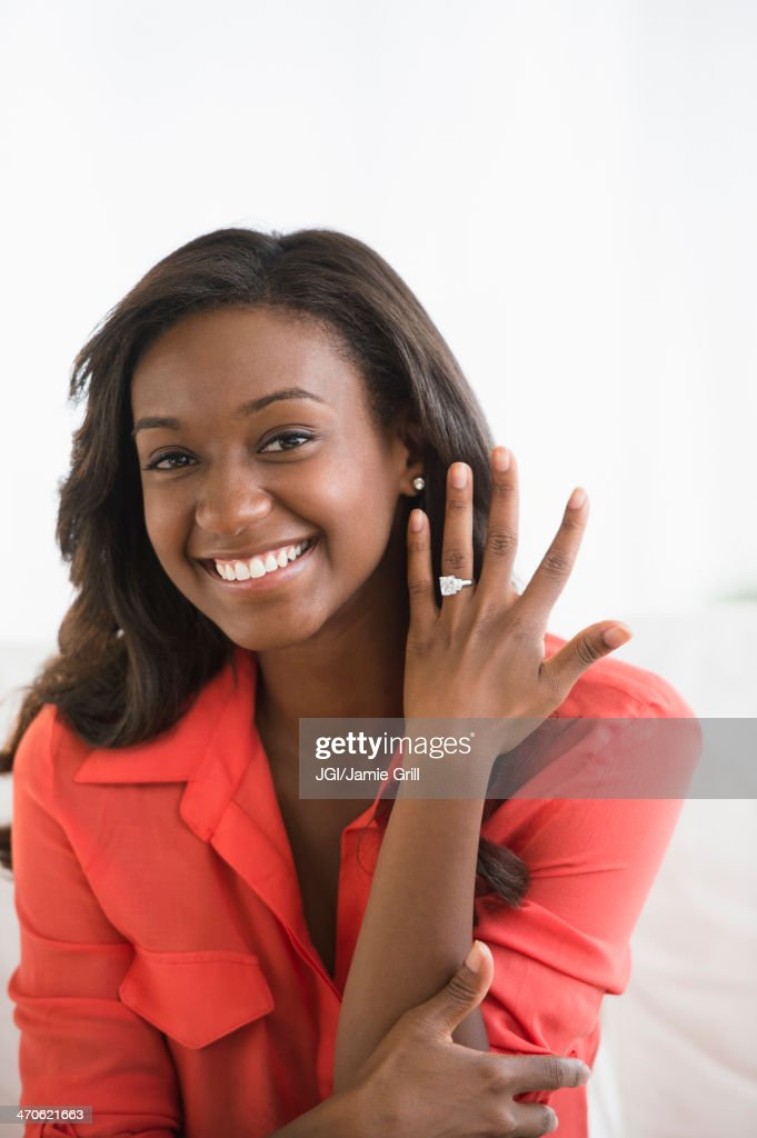 Black Woman Showing Off Engagement Ring Stock Photo | Getty Images