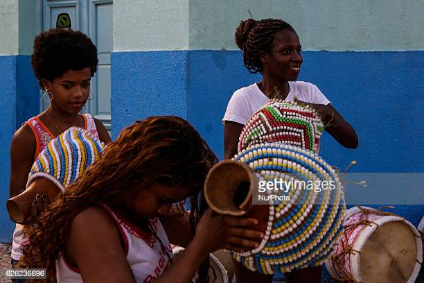 Black women rehearse for the street carnival in Recife northeastern Brazil on November 27 2016