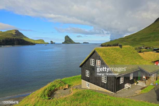 a black wooden house with a grassy roof at the edge of the water and some grassy small islands in the background - rainer grosskopf stock pictures, royalty-free photos & images