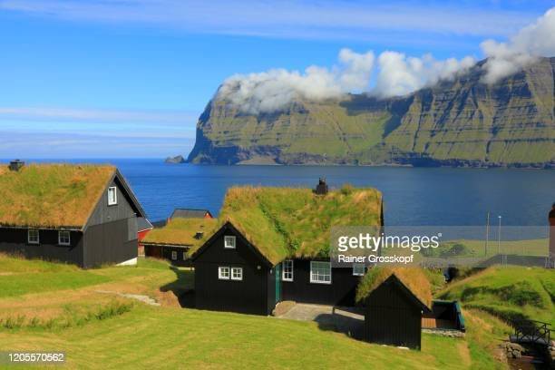 black wooden houses with grassy roofs in a small northern village on the shore of the sea - rainer grosskopf stock-fotos und bilder