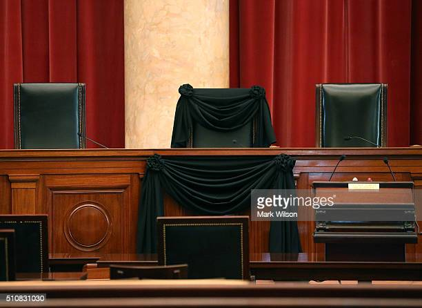 A black wool crepe cloth covers the bench where the late Justice Antonin Scalia would sit when court was in session at the US Supreme Court building...