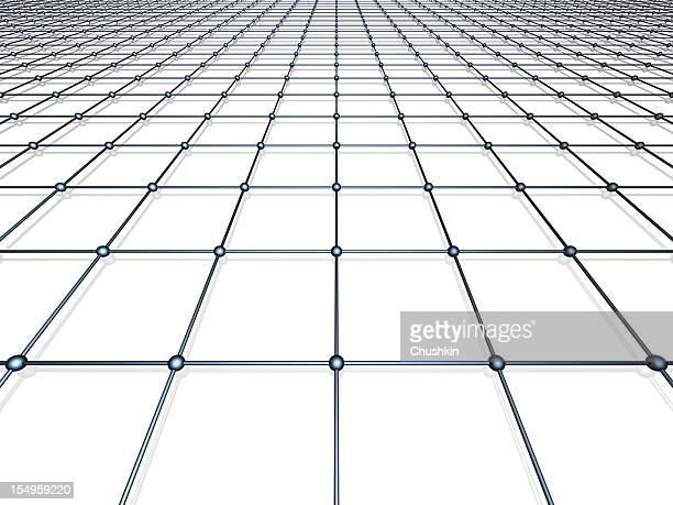Black-and-white digital grid rendering