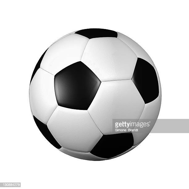 Black-and-white football in front of a white background, 3-D cutout