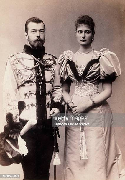 Blackandwhite photograph of the last monarch of Russia Czar Nicholas II and his wife Czarina Alexandra