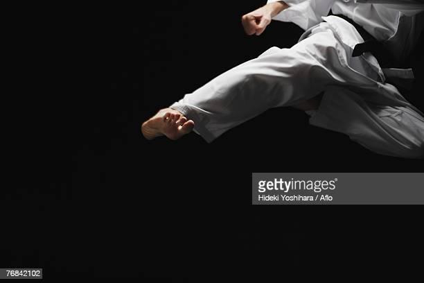 Blackbelt Doing a Flying Kick