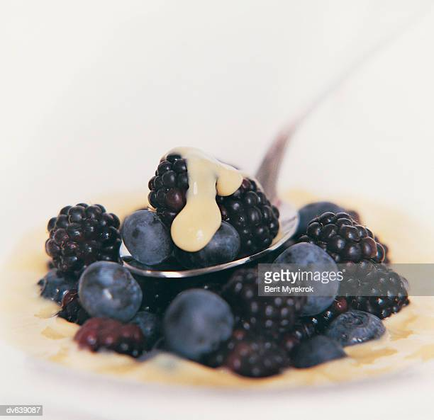 Blackberries and Blueberries Covered with Cream
