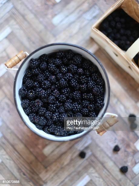 Blackberries in container