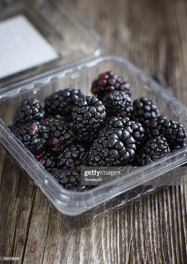 Blackberries In Plastic Box Stock Photo