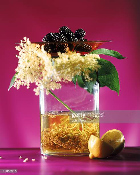 Blackberry and flowers in cooking oil, close-up