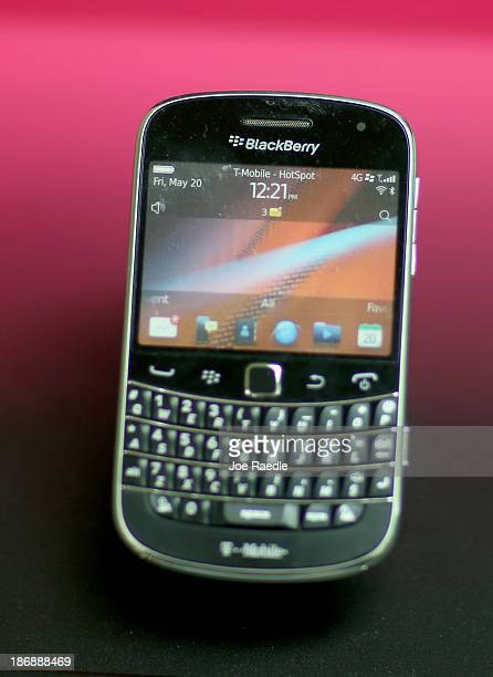 Blackberry cell phones are seen for sale at Fixx wireless on November 4 2013 in Miami Florida Blackberry announced today it has abandoned plans to...