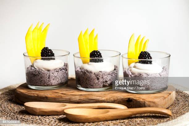 Blackberry Chia Puddings on White