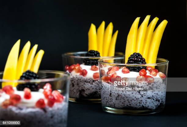 Blackberry Chia Puddings with Dark Background