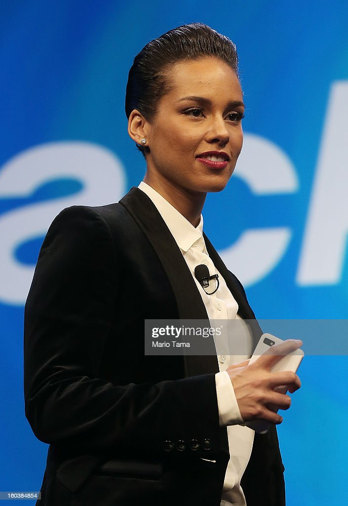BlackBerry Global Creative Director Alicia Keys holds a new BlackBerry at the BlackBerry 10 launch event at Pier 36 in Manhattan on January 30, 2013 in New York City. The new smartphone and mobile operating system is being launched simultaneously in six cities.