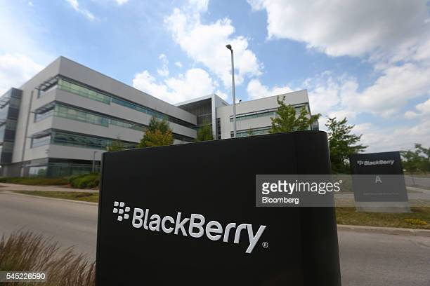 BlackBerry Ltd signage is displayed in front of the company's headquarters in Waterloo Ontario Canada on Wednesday July 6 2016 BlackBerry will no...