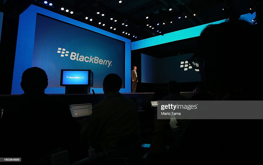 BlackBerry President and Chief Executive Officer Thorsten Heins (C) speaks at the BlackBerry 10 launch event at Pier 36 in Manhattan on January 30, 2013 in New York City. The new smartphone and mobile operating system is being launched simultaneously in six cities.