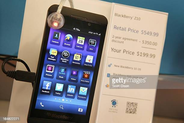BlackBerry Z10 is offered for sale at an ATT store on March 28 2013 in Chicago Illinois The Z10 has been selling above analysts expectations helping...