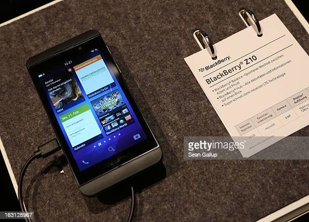 Blackberry Z10 smartphone which is the Germany version of the Blackberry 10 lies on display at the Vodafone stand at the 2013 CeBIT technology trade...