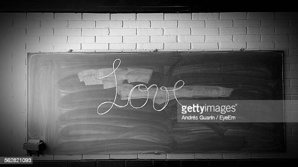 Blackboard And Love Word Written With Chalk