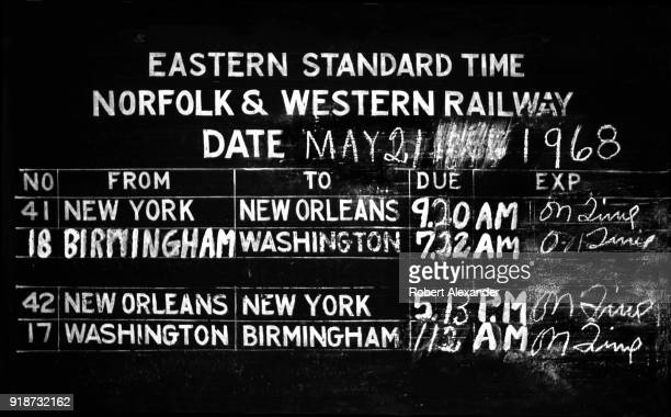 A blackboard at the train depot in Abingdon Virginia shows the day's scheduled train arrivals and departures