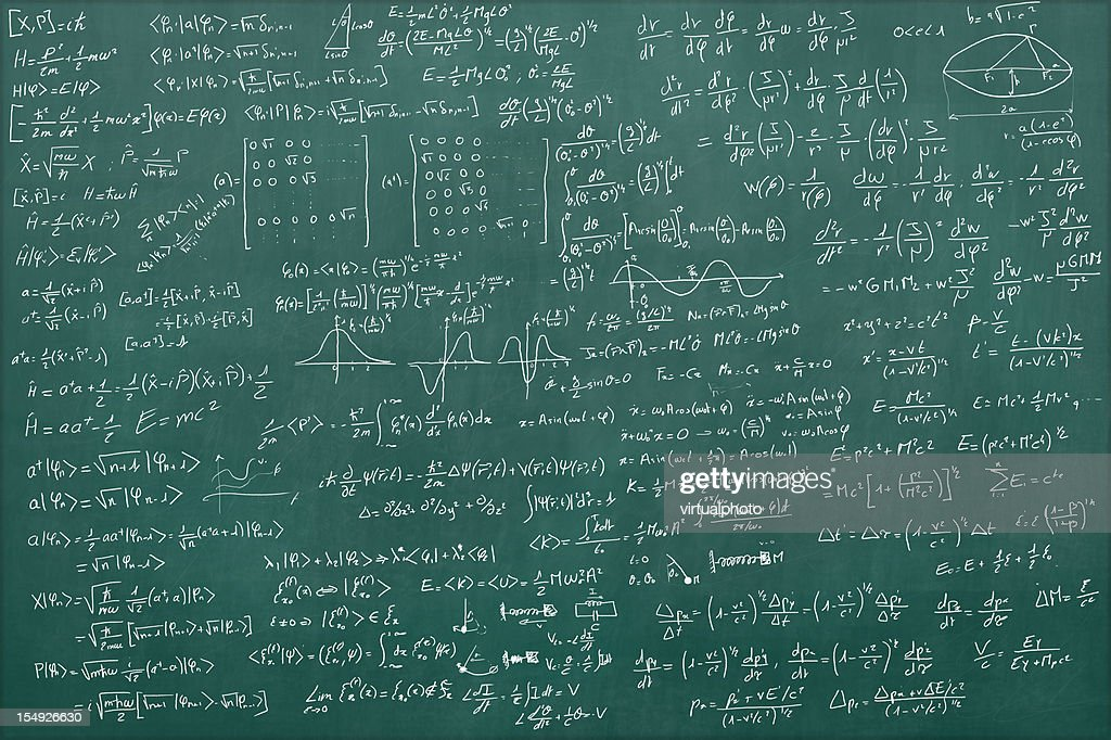 Blackboard full of equations : Stock Photo