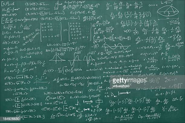 blackboard full of equations - blackboard stock photos and pictures
