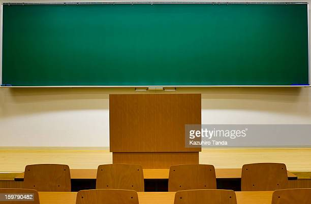 blackboard in the empty classroom - blank chalkboard stock photos and pictures