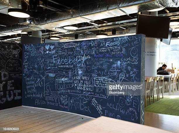 A blackboard is decorated with heart symbols and a message that reads 'I Love Facebook' inside the offices of Facebook Inc's European headquarters at...