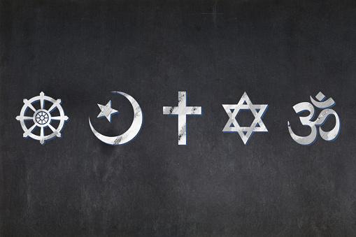 Blackboard - Religious symbols (Buddhism, Islam, Christianity, Judaism, and Hinduism) 927168910