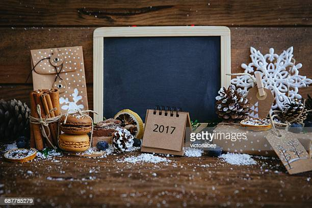 Blackboard with Christmas decorations